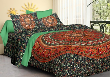 Handmade 100% Cotton Mandala Hand Screen Printed 90 X 108 Queen Size Bedding Bedspread With 2 Pillow