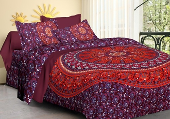 100% Cotton Mandala Hand Screen Printed Bedding Bedspread With 2 Pillow Queen Size 90 X 108