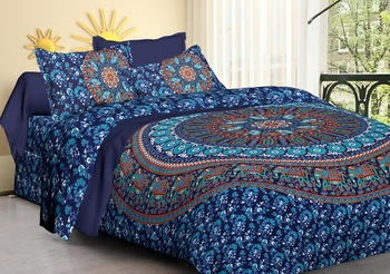 Handmade Pure Cotton Mandala Hand Screen Printed Bedding Bedspread With 2 Pillow Queen Size 90 X 108