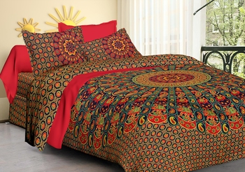 Handmade 100% Cotton Mandala Hand Screen Printed Bedding Bedspread With 2 Pillow Queen Size 90 X 108
