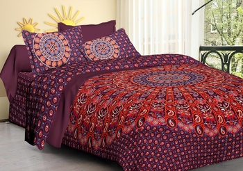 Pure Cotton Handmade 100% Mandala Hand Screen Printed Bedding Bedspread With 2 Pillow Queen Size