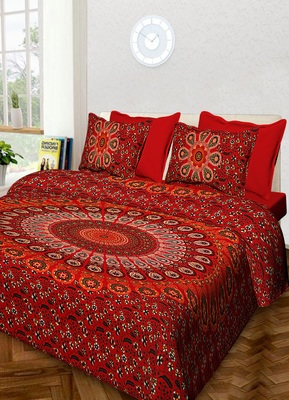 Handmade 100% Cotton Mandala Hand Screen Printed Bedding Bedspread With 2 Pillow Queen Size