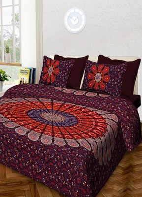 Handmade Cotton Mandala Hand Screen Printed Bedding Bedspread With 2 Pillow Queen Size 90X 108 Inches