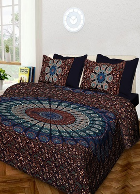 Handmade 100% Cotton Mandala Hand Screen Printed Bedding Bedspread With 2 Pillow Cover Queen Size 90 X 108 inches