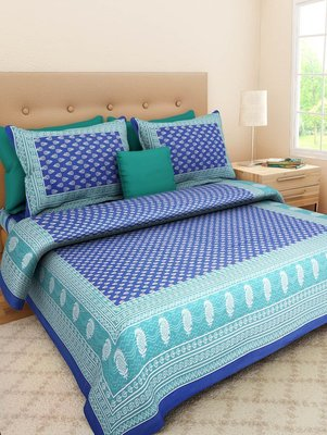 Jaipuri Handmade Cotton Printed Bedding Bedspread Bedsheet With 2 Pillow Cover Queen Size