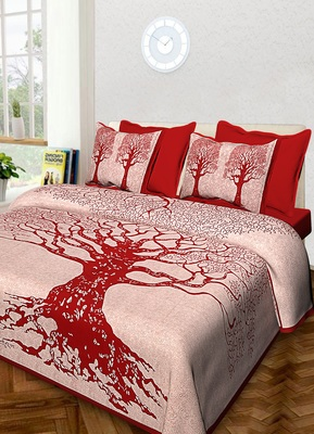 Jaipuri Hand Screen Printed Queen Size 90 X 108 inched Cotton Bedding Bedsheet With 2 Pillow Cover