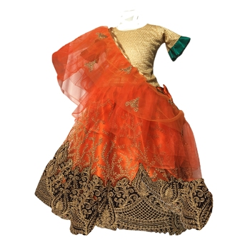 Orange embroidered net stitched lehenga