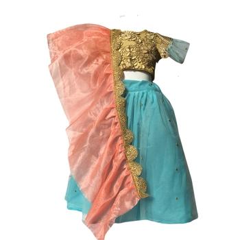 Blue embroidered net stitched lehenga