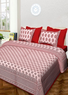 Jaipuri Handmade Queen Size Cotton Bedding Bedspread Bedsheet With 2 Pillow Cover 90 X 108 inches
