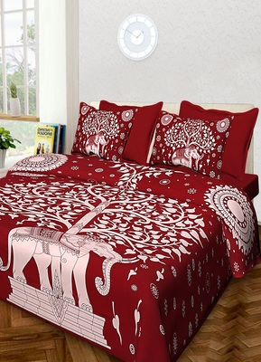 Sanganeri Printed Cotton Bedding Bedsheet With 2 Pillow Cover Queen Size Bedspread 90X108 inch