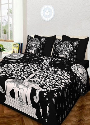 Handmade Cotton Bedding Bedsheet With 2 Pillow Cover Queen Size 90 X 108 inches Bedspread