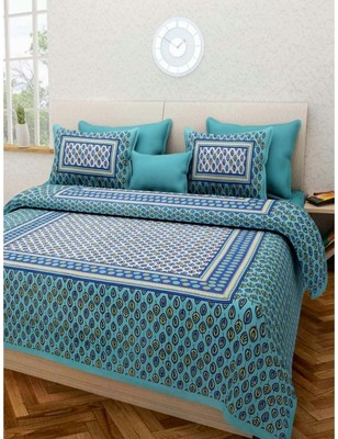 Sanganeri Printed Cotton Bedding Bedsheet With 2 Pillow Cover Queen Size 90 X 108 inches Bedspread