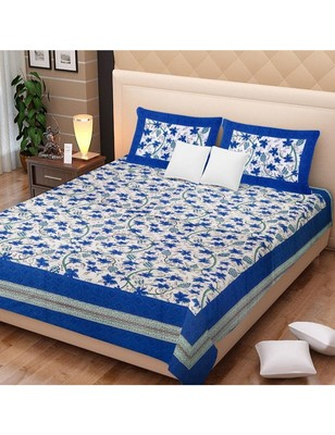 100% Cotton Printed Bedding Bedspread Bedsheet With 2 Pillow Cover Queen Size 90 X 108 inches