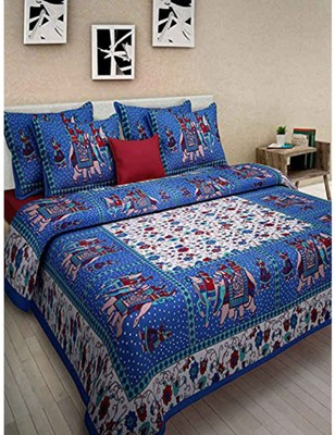 Hand Printed Cotton Printed Bedding Bedspread Bedsheet With 2 Pillow Cover Queen Size 90 X 108 inches