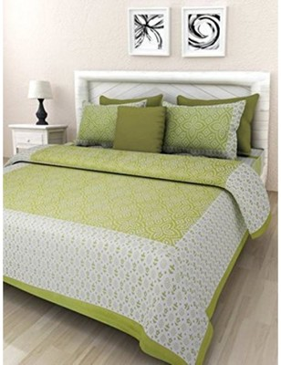 Jaipuri Cotton Screen Printed Bedding Bedspread Bedsheet With 2 Pillow Cover Queen Size 90 X 108