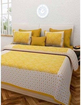 Cotton Hand Screen Printed Bedding Bedspread Bedsheet With 2 Pillow Cover Queen Size 90X108 inches