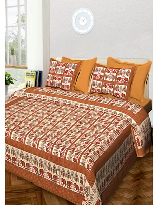 Printed Cotton Bedding Bedsheet With 2 Pillow Cover Queen Size 90 X 108 inches Sanganeri Print