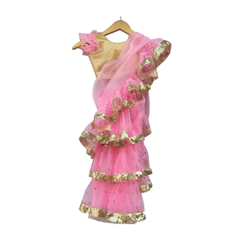 Baby Pink embroidered tissue stitched lehenga
