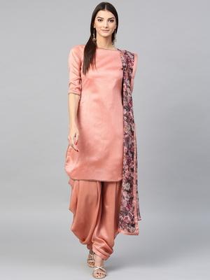 Inddus Pink Art silk Solid Dress Material with Organza Printed Dupatta