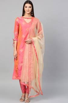 Inddus Pink Art Silk Woven Dress Material with Net Dupatta 9a0248b7e