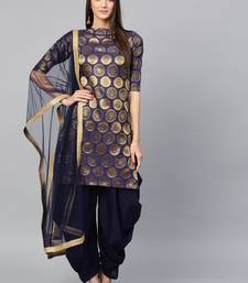 Inddus  Navy Blue Art Silk Woven Dress Material with Net Dupatta
