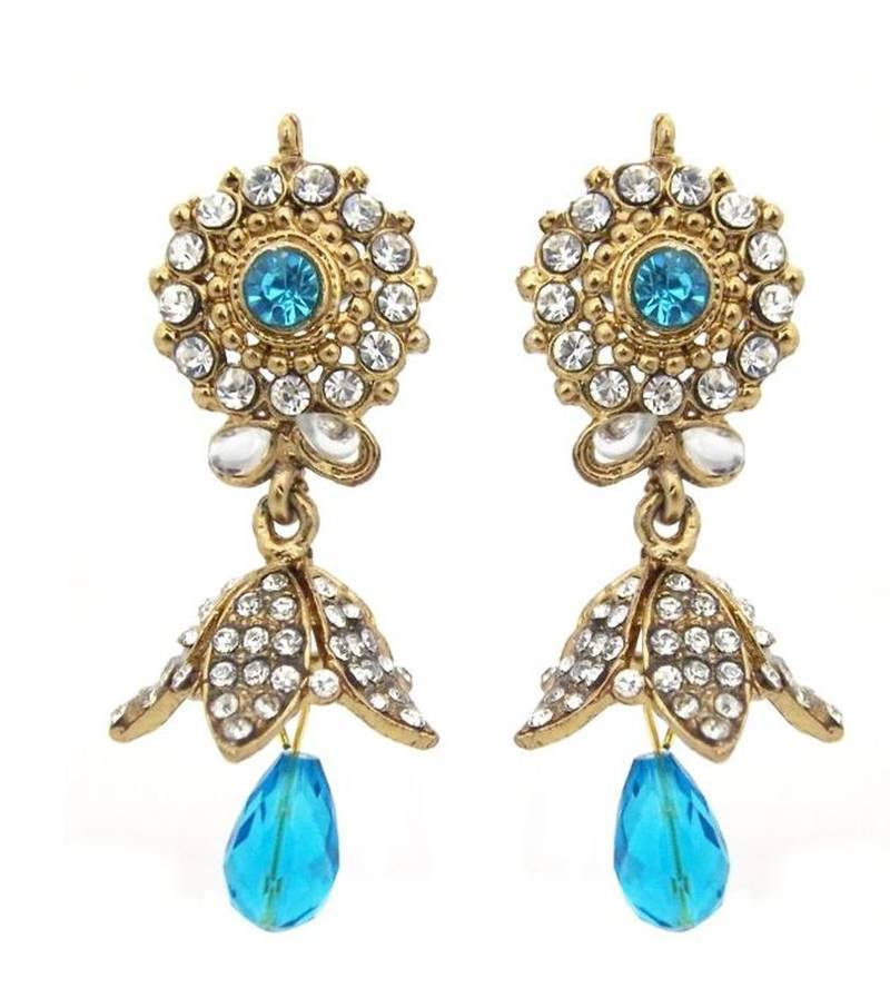 Traditional Sky Blue Color Dull Gold Plated Dangle Drop Earrings