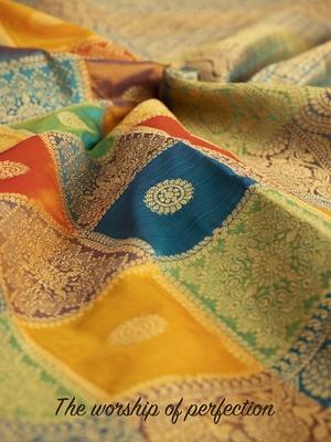 Multicolor woven banarasi silk blend saree with blouse