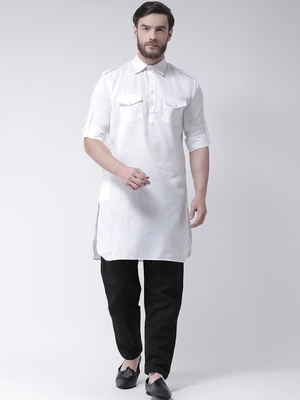 White Plain Cotton Pathani Suits