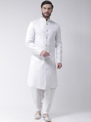 White plain polyester sherwani