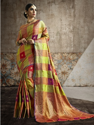 Multicolor woven banarasi silk blend saree with blouse