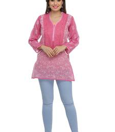 Onion-pink embroidered cotton chikankari-kurtis