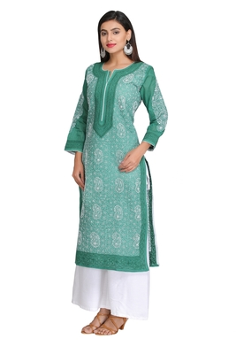 Green embroidered cotton chikankari-kurtis