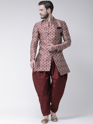 Maroon Woven Polyester Indo Western Dresses