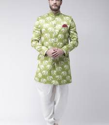 Green printed polyester indo western dresses