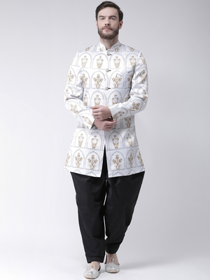 White Printed Polyester Indo Western Dresses