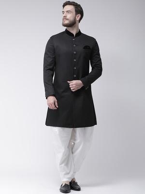 Black Plain Polyester Indo Western Dresses