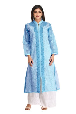 Blue embroidered cotton chikankari-kurtis