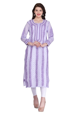 Mauve Embroidered Cotton Chikankari Kurti