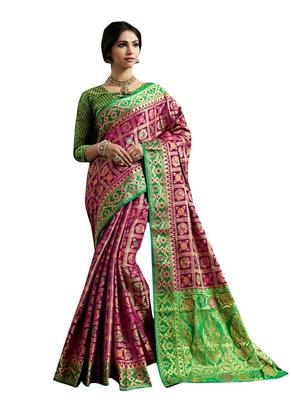 Purple Plain Silk Blend Saree With Blouse