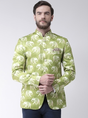 Green Printed Polyester Bandhgala Suit