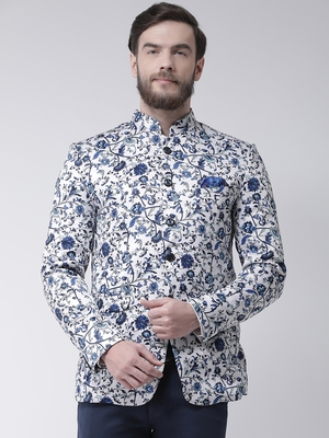 White Printed Polyester Bandhgala Suit