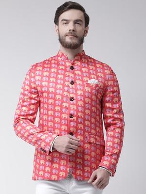 Pink Printed Polyester Bandhgala Suit