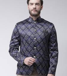 Blue printed polyester bandhgala suit
