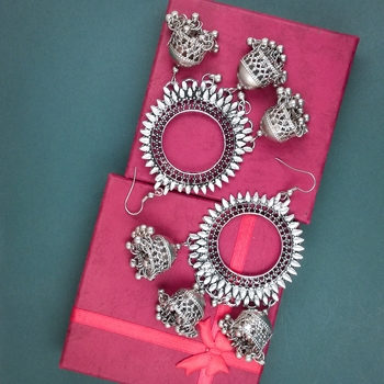 Oxidized Silver Plated Corrode Collection Earrings In Vintage Finish Alloy Dangle Earring Alloy Chandbali Earring