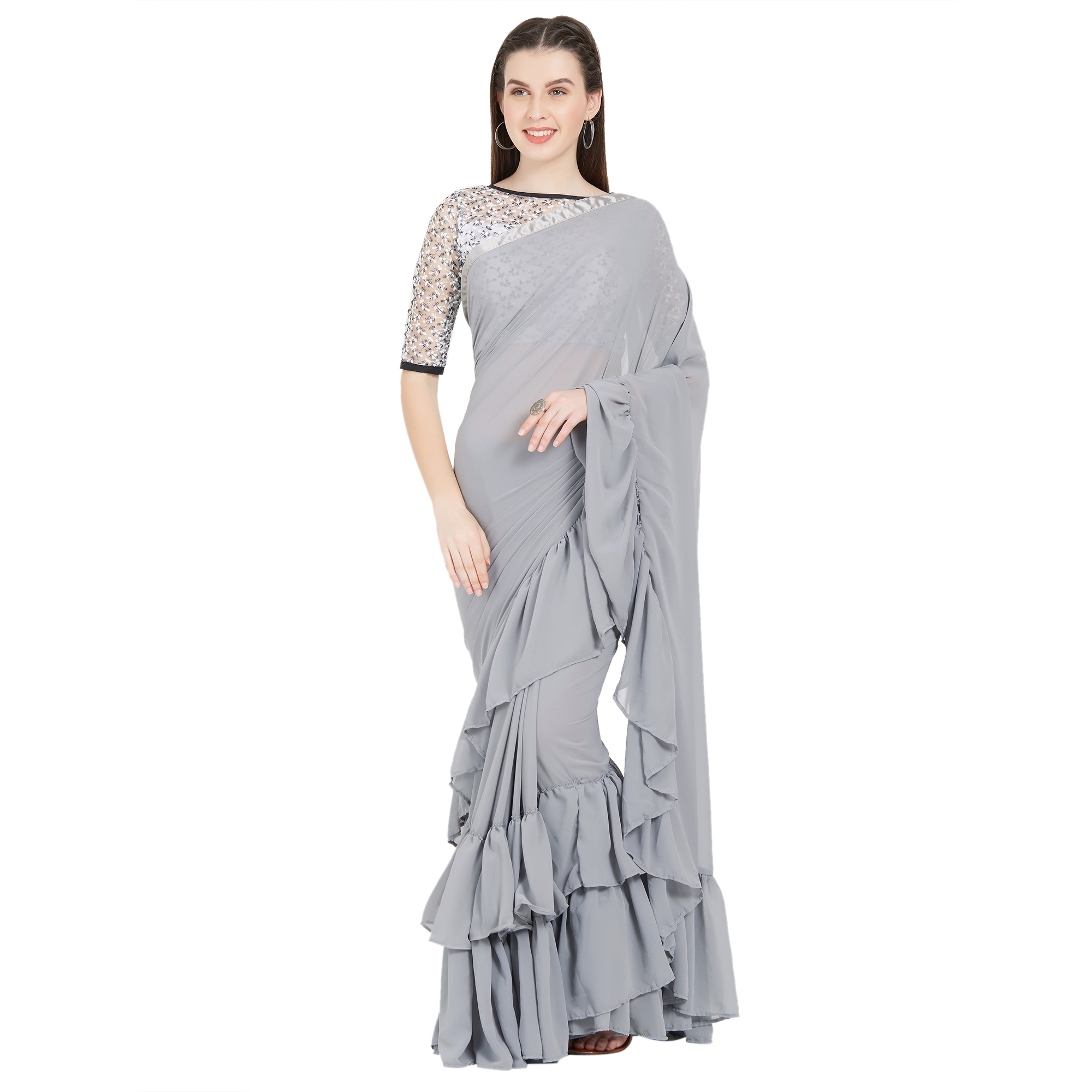 377103f60c Grey plain faux georgette ruffle saree with blouse - V SALES - 2850848
