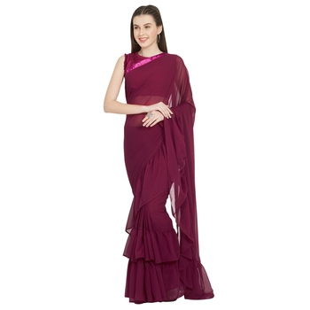 Magenta Plain Faux Georgette Ruffle Saree With Blouse