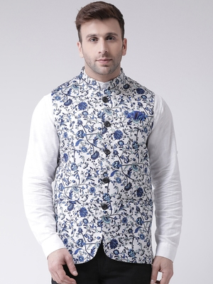 White Printed Cotton Poly Nehru Jacket