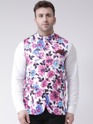 Multicolor Printed Cotton Poly Nehru Jacket