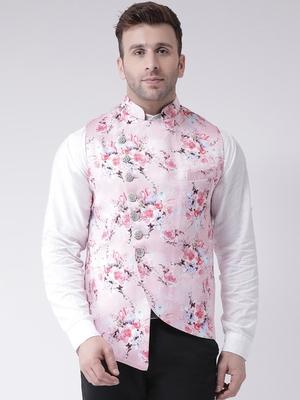 Pink Printed Cotton Poly Nehru Jacket