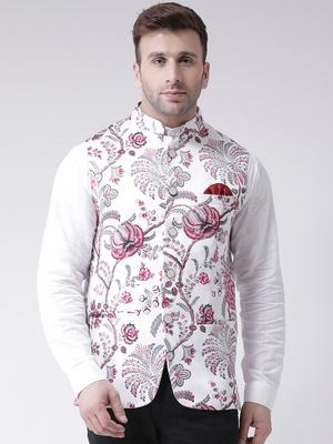 White Printed Cotton Poly Nehru Jacket